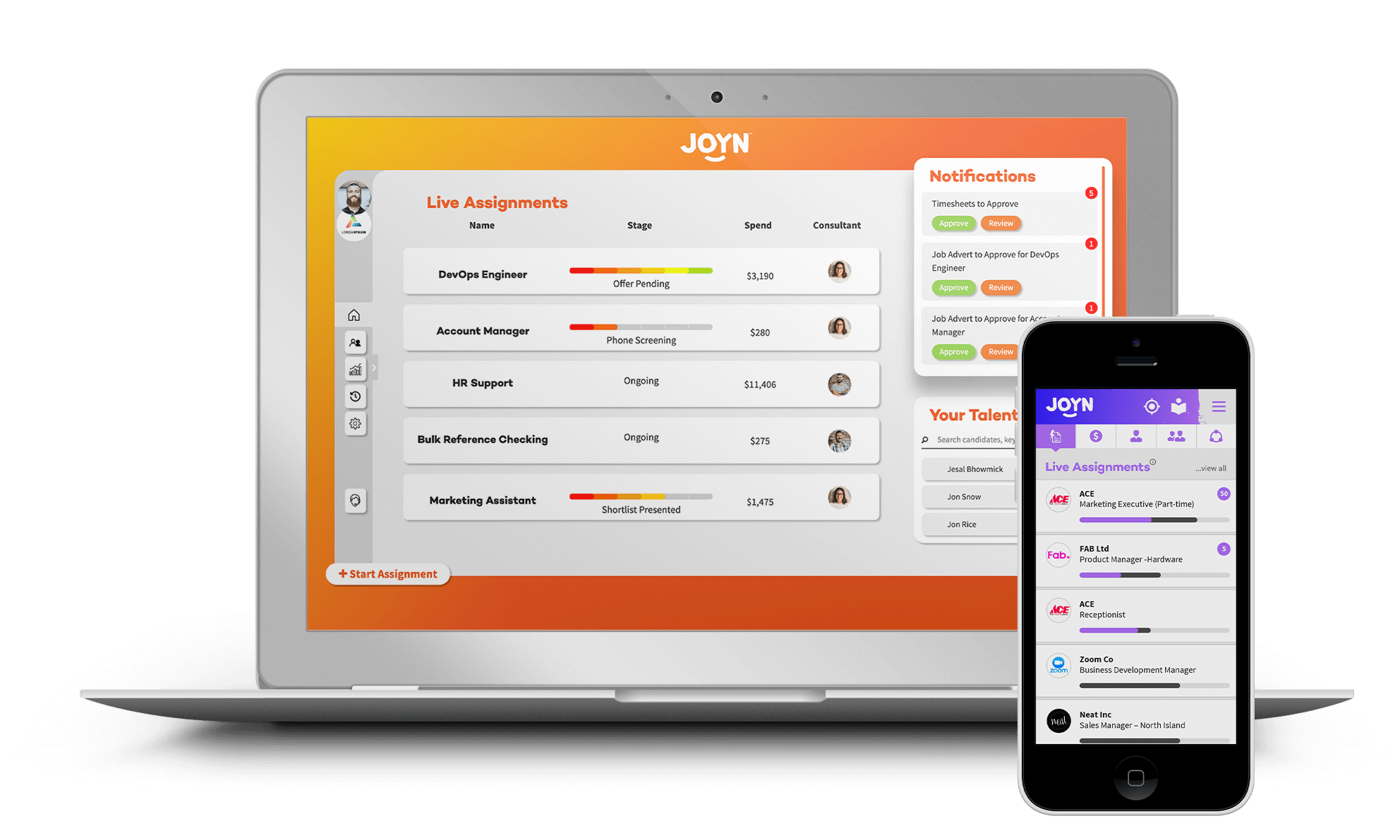 JOYN dashboards - Laptop and Smartphone